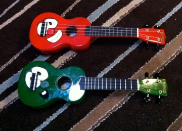 custom made ukulele - Bob and Larry Veggie Tales